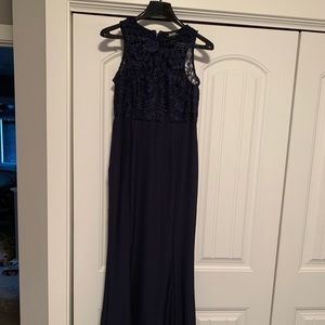Navy blue lace Lulus gown.
